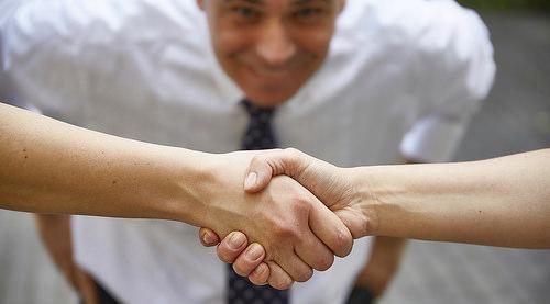 Handshake with smile